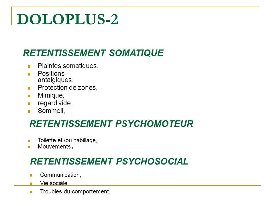 Plaintes somatiques, Positions antalgiques, Protection de zones, Mimique, regard vide, Sommeil, DOLOPLUS-2 RETENTISSEMENT SOMATIQUE RETENTISSEMENT PSY
