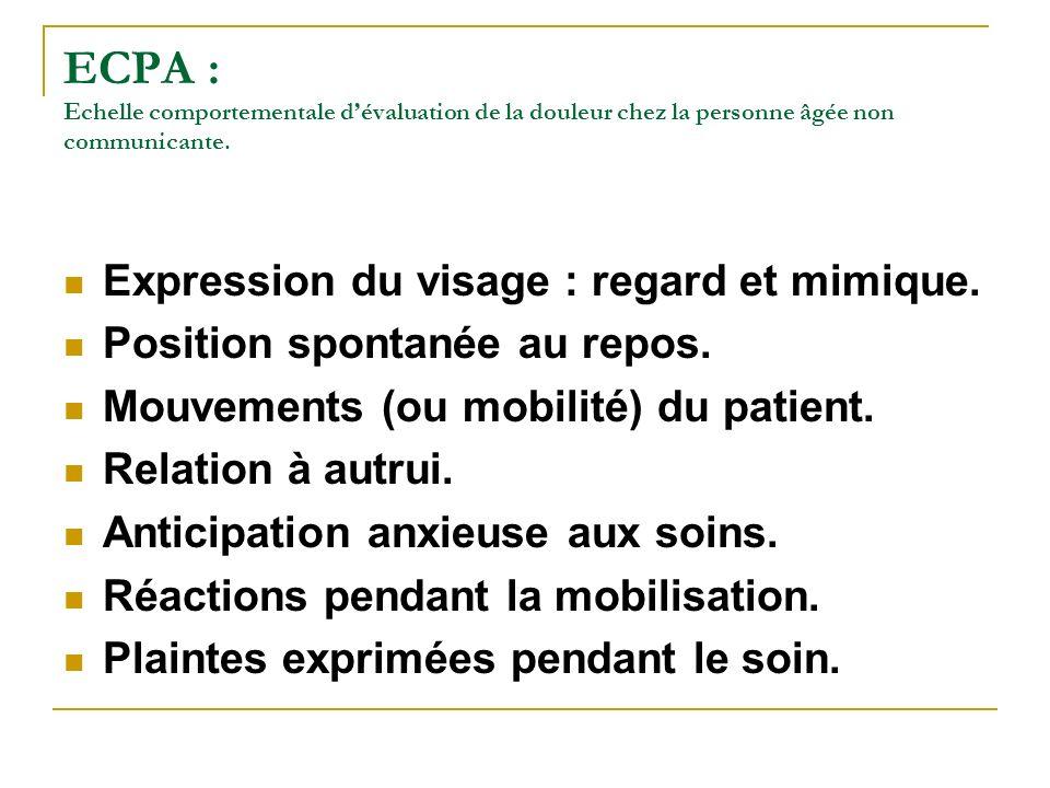 ECPA : Echelle comportementale dévaluation de la douleur chez la personne âgée non communicante. Expression du visage : regard et mimique. Position sp