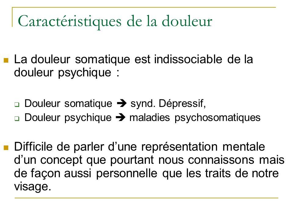 Caractéristiques de la douleur La douleur somatique est indissociable de la douleur psychique : Douleur somatique synd. Dépressif, Douleur psychique m