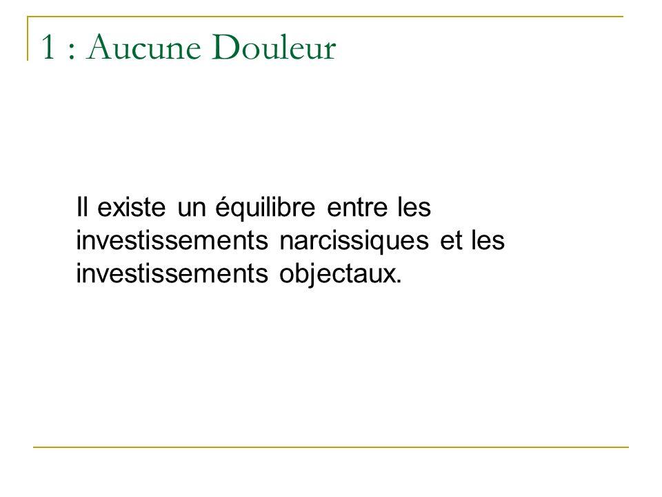 1 : Aucune Douleur Il existe un équilibre entre les investissements narcissiques et les investissements objectaux.