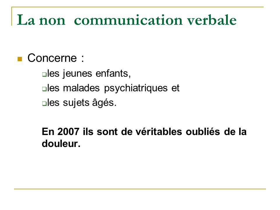 La non communication verbale Concerne : les jeunes enfants, les malades psychiatriques et les sujets âgés. En 2007 ils sont de véritables oubliés de l