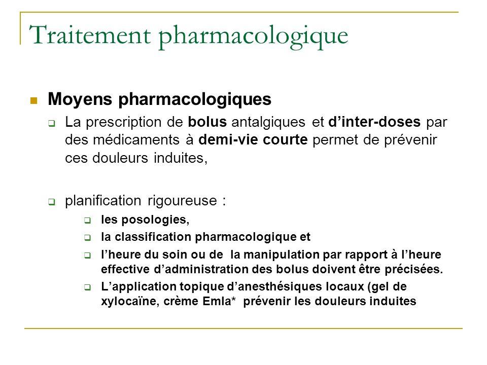 Traitement pharmacologique Moyens pharmacologiques La prescription de bolus antalgiques et dinter-doses par des médicaments à demi-vie courte permet d