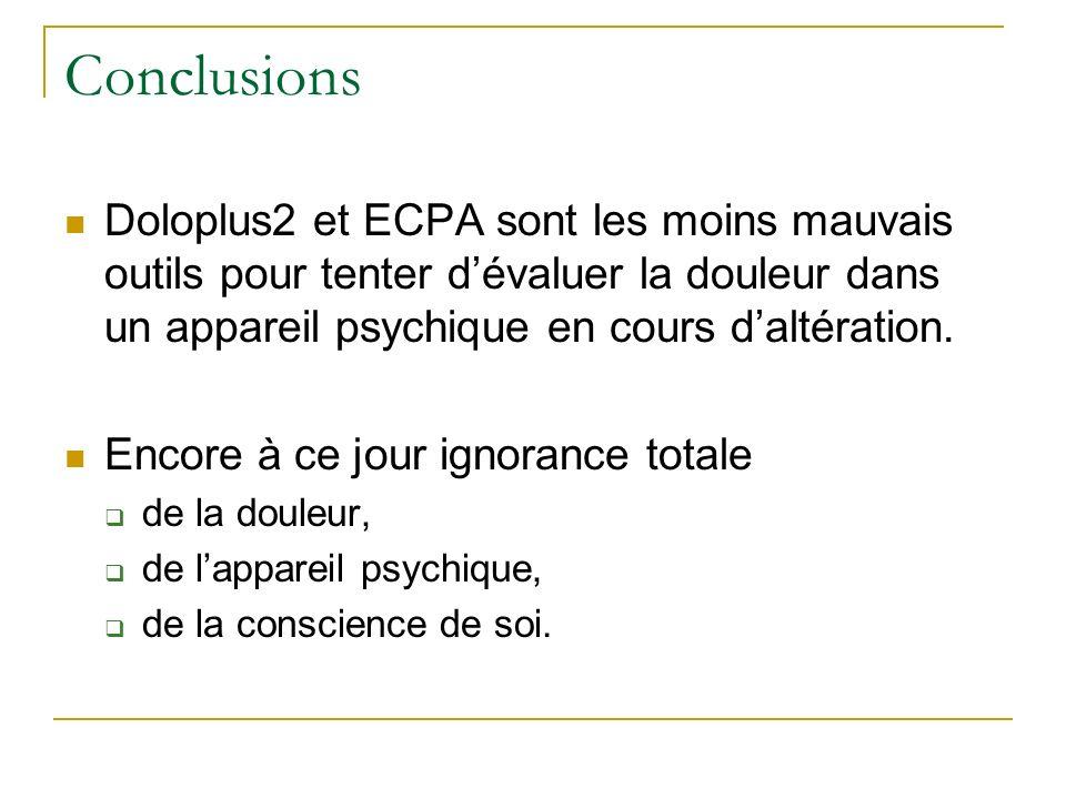Conclusions Doloplus2 et ECPA sont les moins mauvais outils pour tenter dévaluer la douleur dans un appareil psychique en cours daltération. Encore à