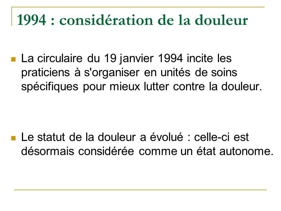 1994 : considération de la douleur La circulaire du 19 janvier 1994 incite les praticiens à s'organiser en unités de soins spécifiques pour mieux lutt