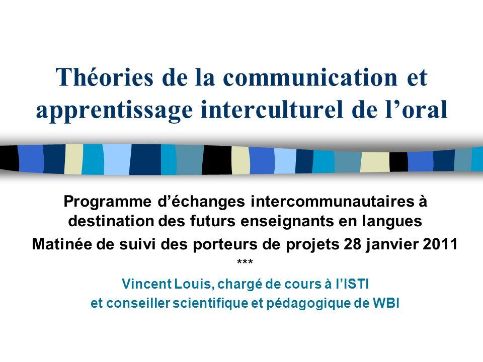 Théories de la communication et apprentissage interculturel de loral Programme déchanges intercommunautaires à destination des futurs enseignants en l