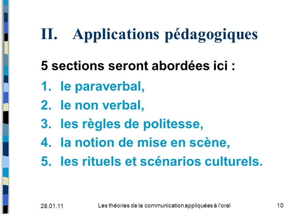 II. Applications pédagogiques 5 sections seront abordées ici : 1.le paraverbal, 2.le non verbal, 3.les règles de politesse, 4.la notion de mise en scè