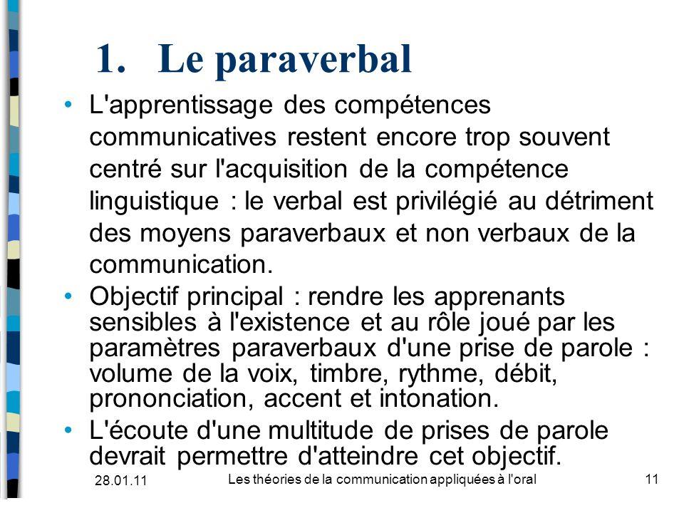 1.Le paraverbal L'apprentissage des compétences communicatives restent encore trop souvent centré sur l'acquisition de la compétence linguistique : le