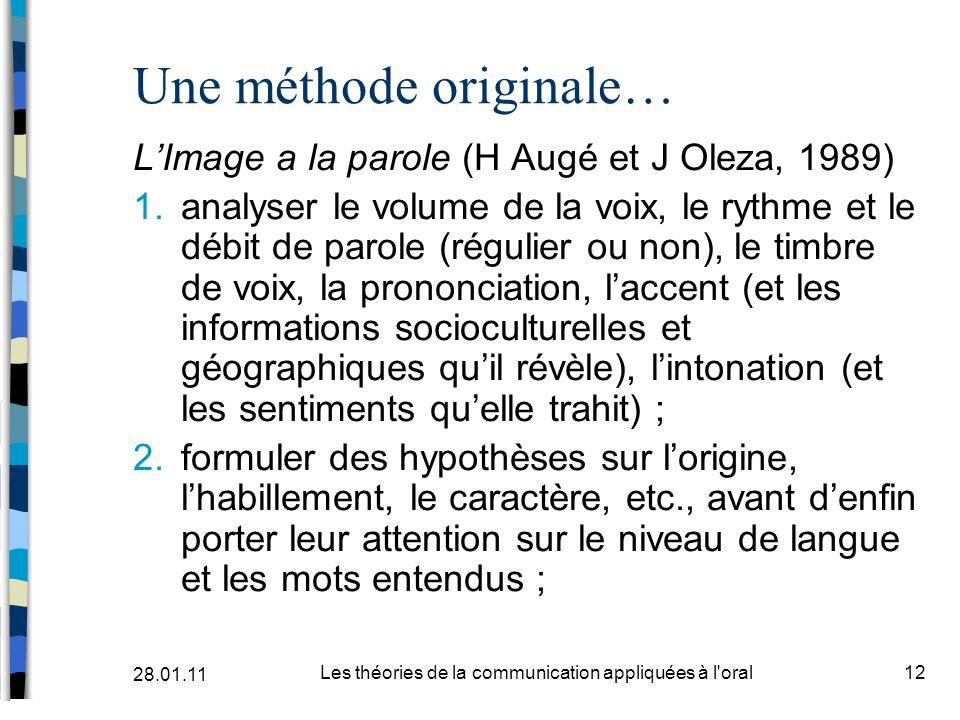 Une méthode originale… LImage a la parole (H Augé et J Oleza, 1989) 1.analyser le volume de la voix, le rythme et le débit de parole (régulier ou non)