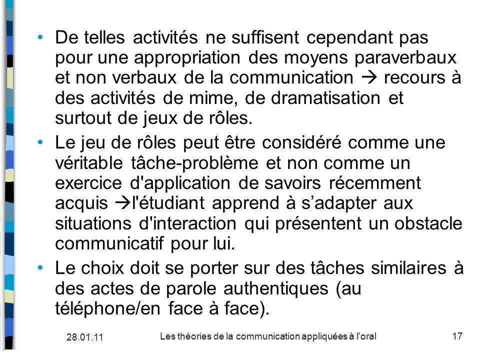 De telles activités ne suffisent cependant pas pour une appropriation des moyens paraverbaux et non verbaux de la communication recours à des activité