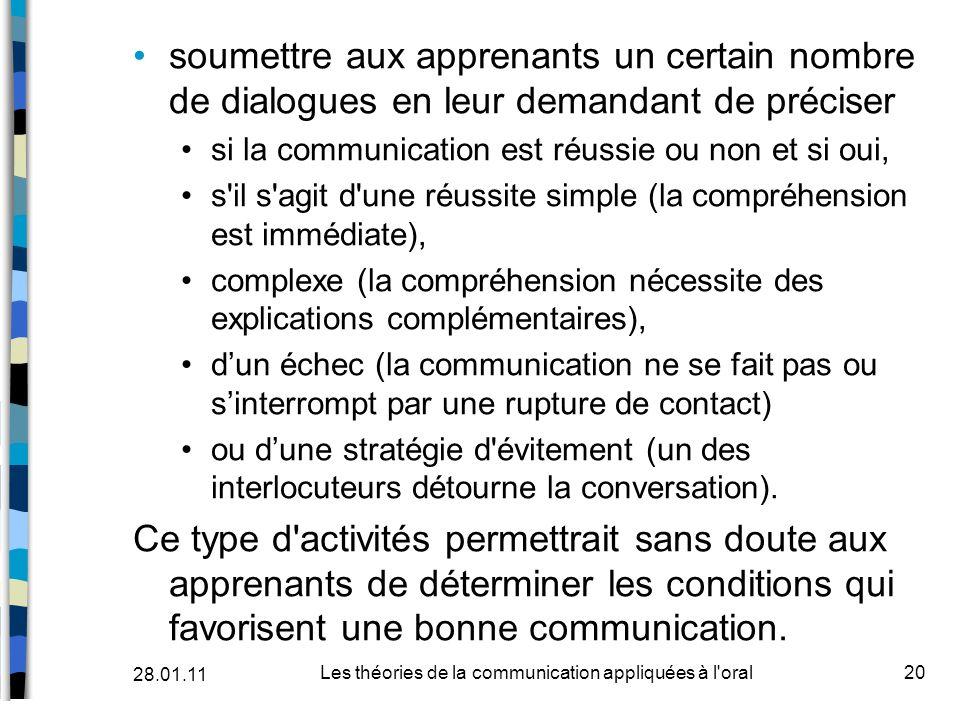 soumettre aux apprenants un certain nombre de dialogues en leur demandant de préciser si la communication est réussie ou non et si oui, s'il s'agit d'