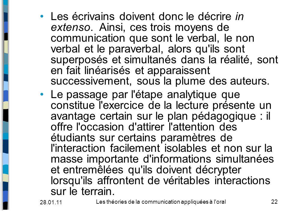 Les écrivains doivent donc le décrire in extenso. Ainsi, ces trois moyens de communication que sont le verbal, le non verbal et le paraverbal, alors q