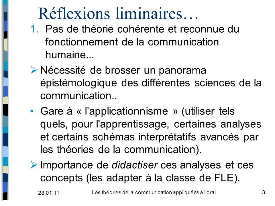 Réflexions liminaires… 1.Pas de théorie cohérente et reconnue du fonctionnement de la communication humaine... Nécessité de brosser un panorama épisté