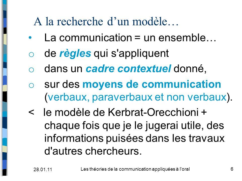A la recherche dun modèle… La communication = un ensemble… o de règles qui s'appliquent o dans un cadre contextuel donné, o sur des moyens de communic