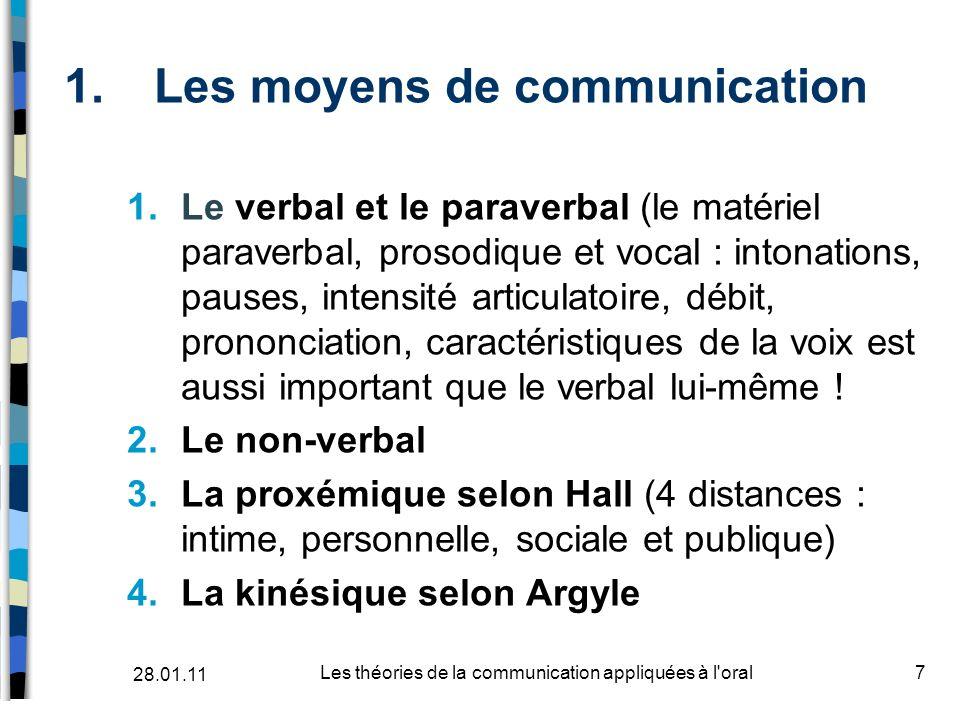 1.Les moyens de communication 1.Le verbal et le paraverbal (le matériel paraverbal, prosodique et vocal : intonations, pauses, intensité articulatoire