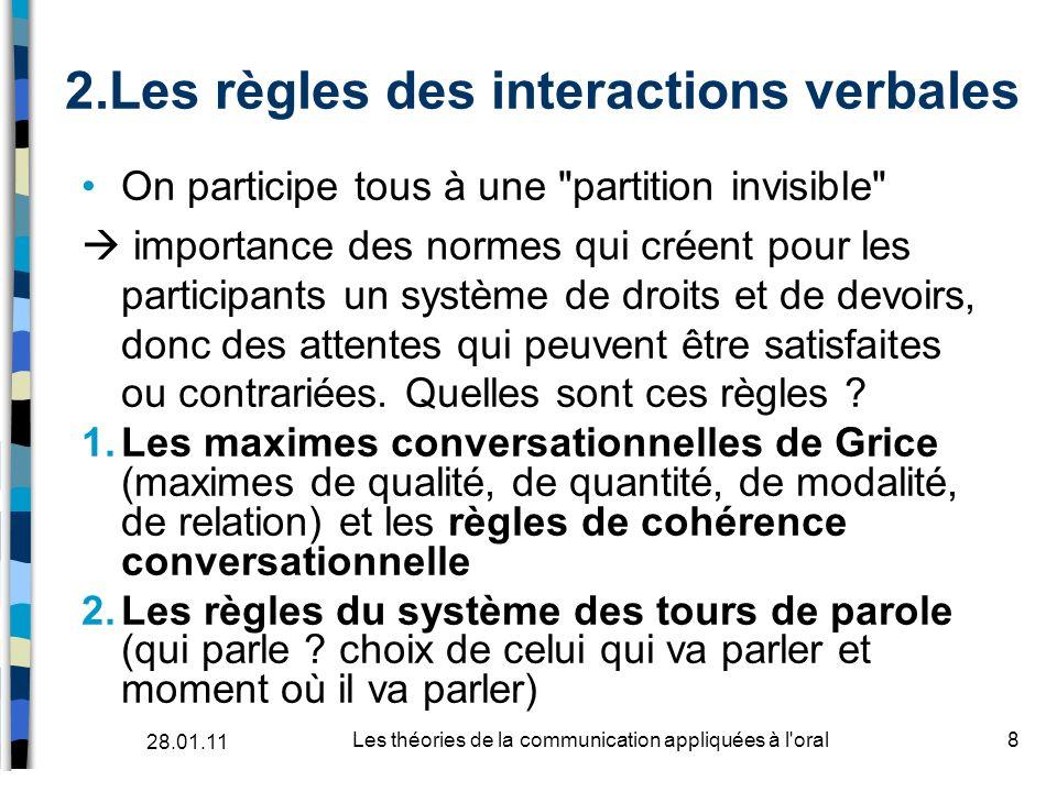 2.Les règles des interactions verbales On participe tous à une
