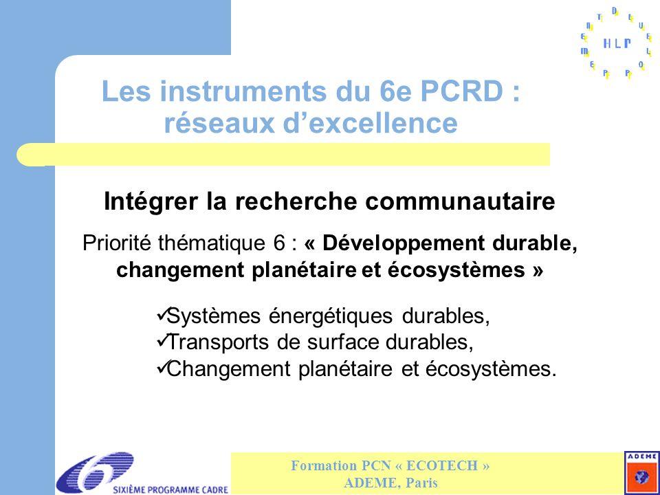 Les instruments du 6e PCRD : réseaux dexcellence Formation PCN « ECOTECH » ADEME, Paris Intégrer la recherche communautaire Priorité thématique 6 : « Développement durable, changement planétaire et écosystèmes » Systèmes énergétiques durables, Transports de surface durables, Changement planétaire et écosystèmes.