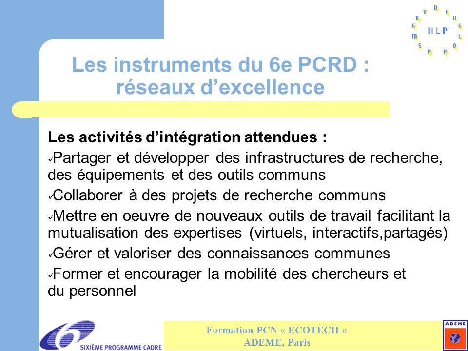 Les instruments du 6e PCRD : réseaux dexcellence Formation PCN « ECOTECH » ADEME, Paris Les aspects de propriété intellectuelle (droits daccès) : Les dispositions concernant les droits daccès sont les mêmes pour tous les participants (simplifiées par rapport au 5e PCRD).