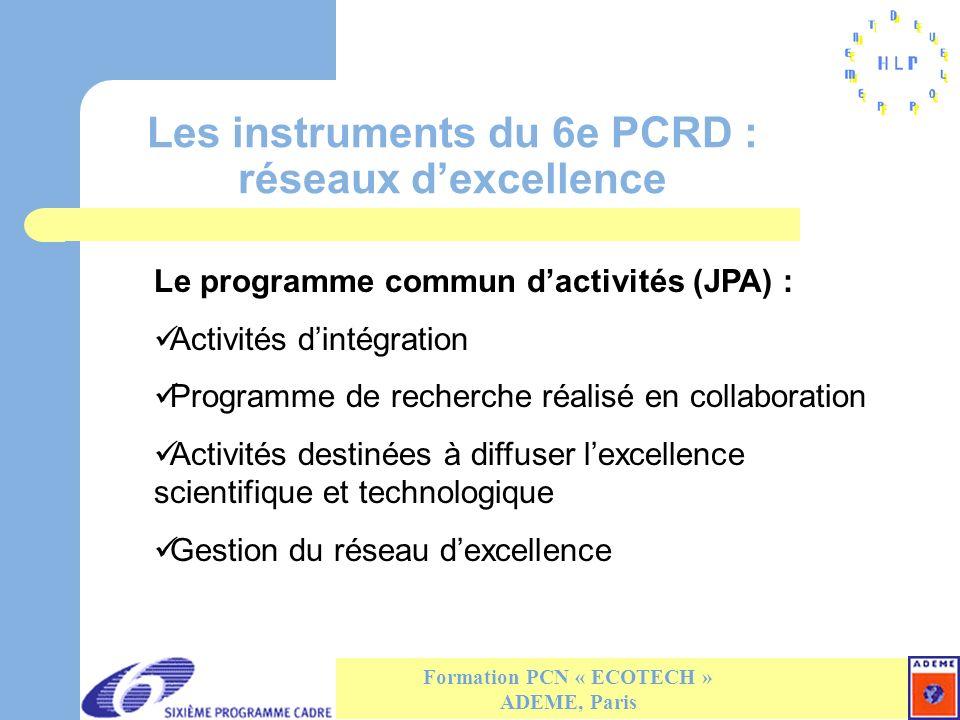 Les instruments du 6e PCRD : réseaux dexcellence Formation PCN « ECOTECH » ADEME, Paris Le programme commun dactivités (JPA) : Activités dintégration Programme de recherche réalisé en collaboration Activités destinées à diffuser lexcellence scientifique et technologique Gestion du réseau dexcellence