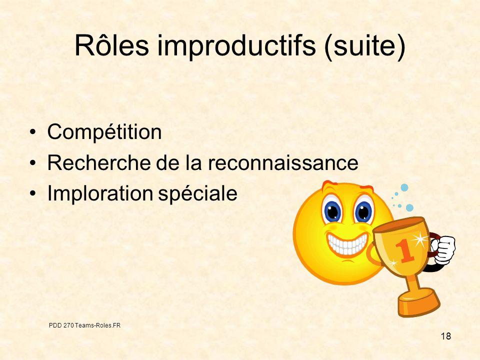 18 Rôles improductifs (suite) Compétition Recherche de la reconnaissance Imploration spéciale PDD 270 Teams-Roles.FR