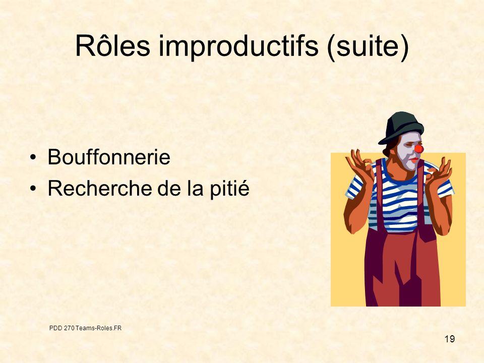 19 Rôles improductifs (suite) Bouffonnerie Recherche de la pitié PDD 270 Teams-Roles.FR
