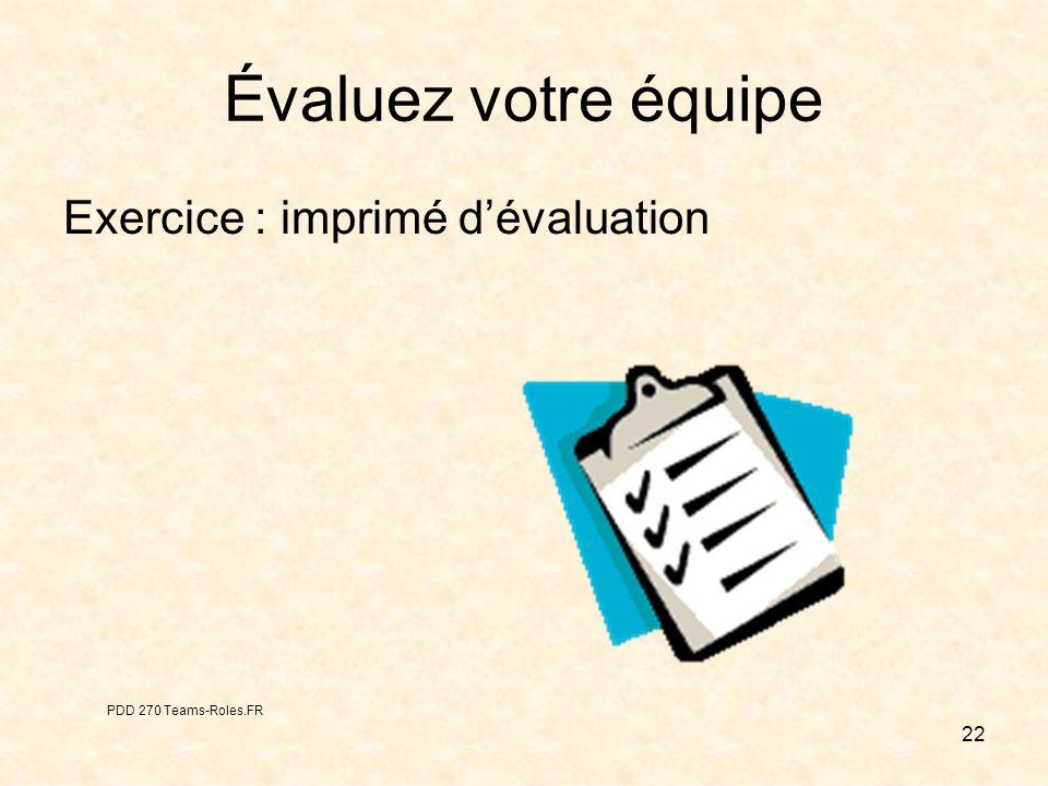22 Évaluez votre équipe Exercice : imprimé dévaluation PDD 270 Teams-Roles.FR