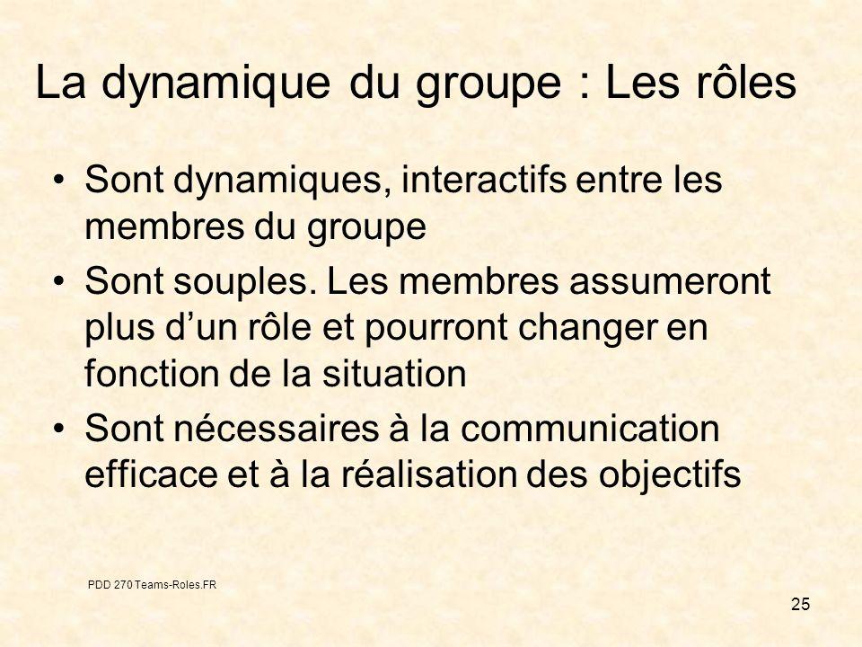 25 La dynamique du groupe : Les rôles Sont dynamiques, interactifs entre les membres du groupe Sont souples. Les membres assumeront plus dun rôle et p