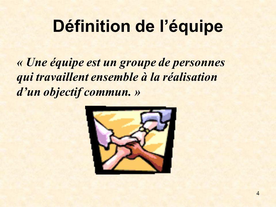 4 Définition de léquipe « Une équipe est un groupe de personnes qui travaillent ensemble à la réalisation dun objectif commun. »