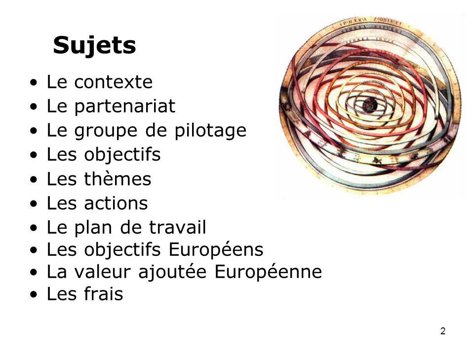 Sujets Le contexte Le partenariat Le groupe de pilotage Les objectifs Les thèmes Les actions Le plan de travail Les objectifs Européens La valeur ajoutée Européenne Les frais 2