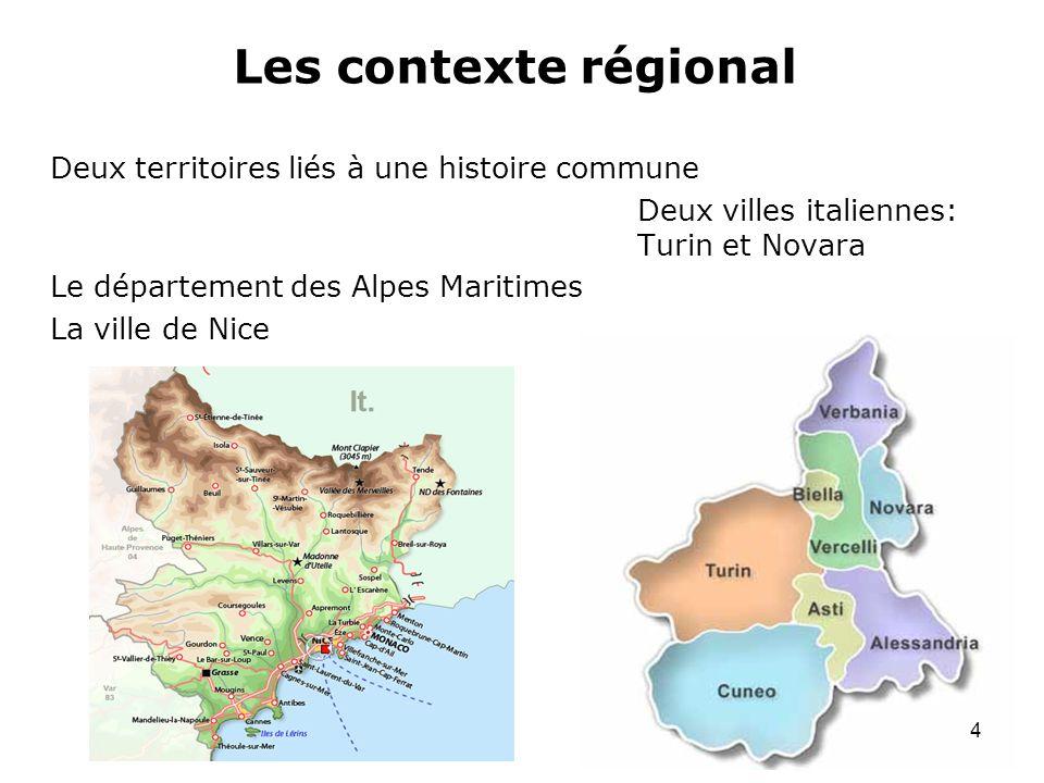 Les contexte régional Deux territoires liés à une histoire commune Deux villes italiennes: Turin et Novara Le département des Alpes Maritimes La ville
