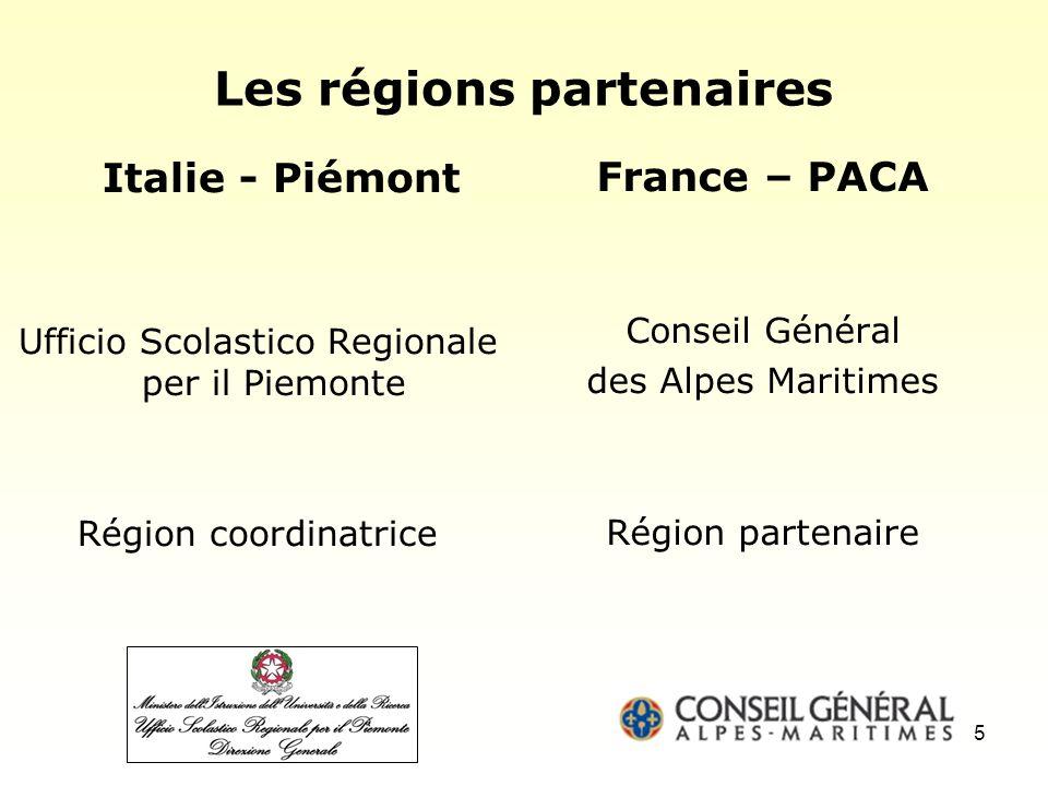 Les régions partenaires Italie - Piémont Ufficio Scolastico Regionale per il Piemonte Région coordinatrice France – PACA Conseil Général des Alpes Maritimes Région partenaire 5