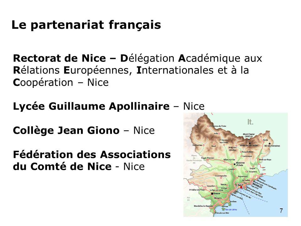 Le partenariat français Rectorat de Nice – Délégation Académique aux Rélations Européennes, Internationales et à la Coopération – Nice Lycée Guillaume