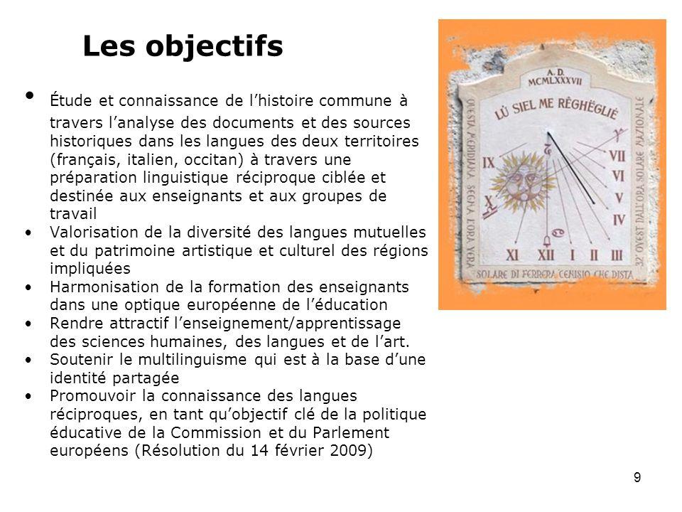 Les objectifs Étude et connaissance de lhistoire commune à travers lanalyse des documents et des sources historiques dans les langues des deux territo