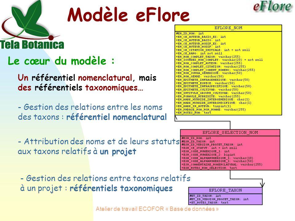 Atelier de travail ECOFOR « Base de données » Modèle eFlore Le cœur du modèle : - Gestion des relations entre les noms des taxons : référentiel nomenclatural - Gestion des relations entre taxons relatifs à un projet : référentiels taxonomiques - Attribution des noms et de leurs statuts aux taxons relatifs à un projet Un référentiel nomenclatural, mais des référentiels taxonomiques…