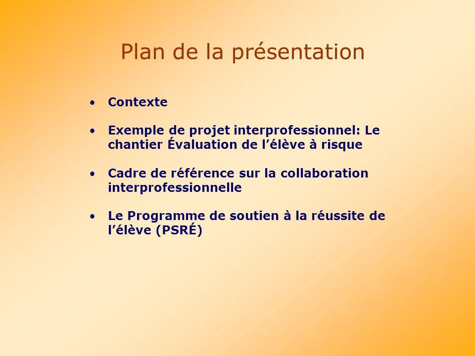 Contexte Exemple de projet interprofessionnel: Le chantier Évaluation de lélève à risque Cadre de référence sur la collaboration interprofessionnelle