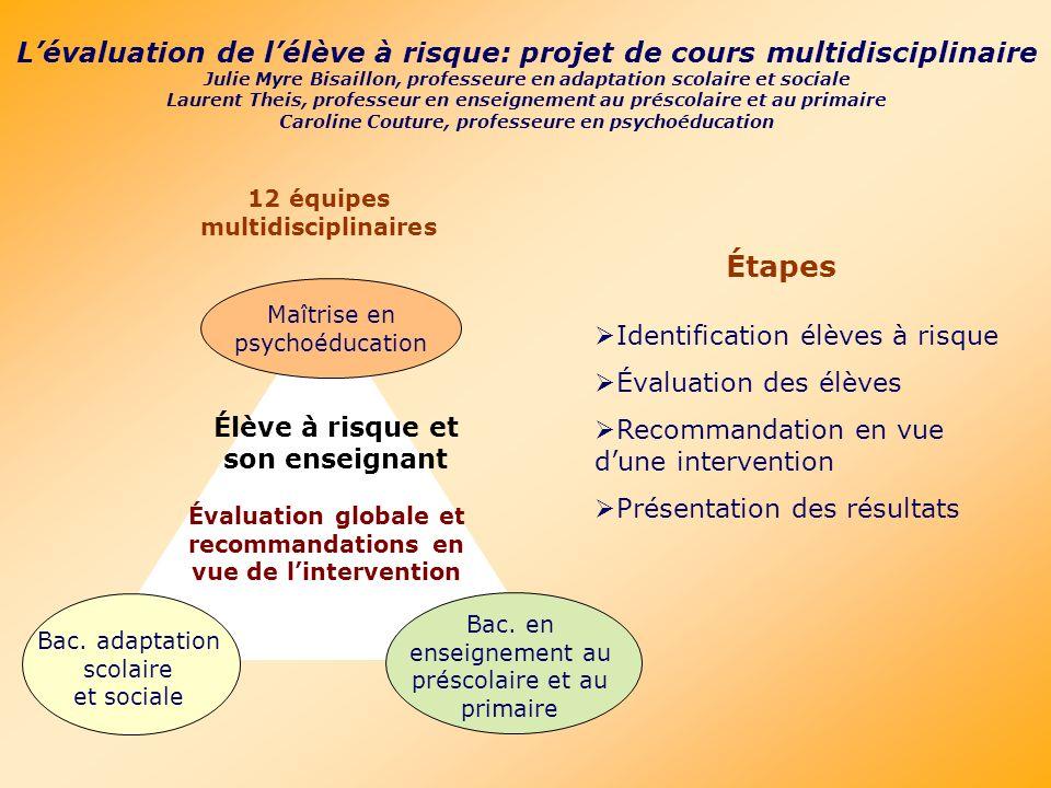 Lévaluation de lélève à risque: projet de cours multidisciplinaire Julie Myre Bisaillon, professeure en adaptation scolaire et sociale Laurent Theis,