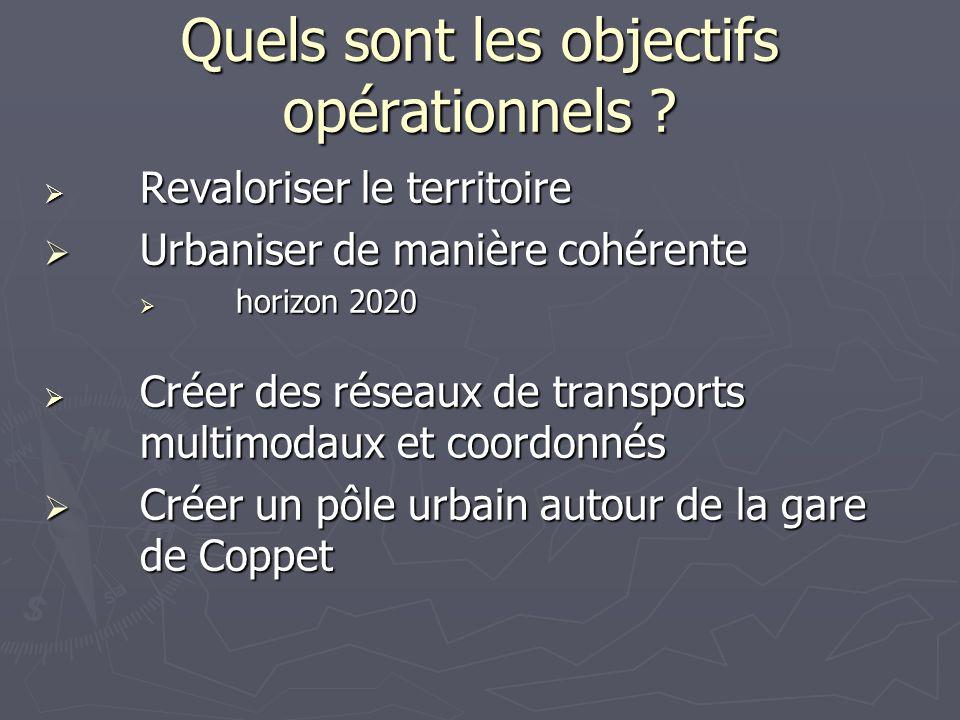 Quels sont les objectifs opérationnels ? Revaloriser le territoire Revaloriser le territoire Urbaniser de manière cohérente Urbaniser de manière cohér