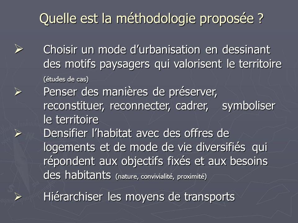 Quelle est la méthodologie proposée ? Choisir un mode durbanisation en dessinant des motifs paysagers qui valorisent le territoire (études de cas) Cho