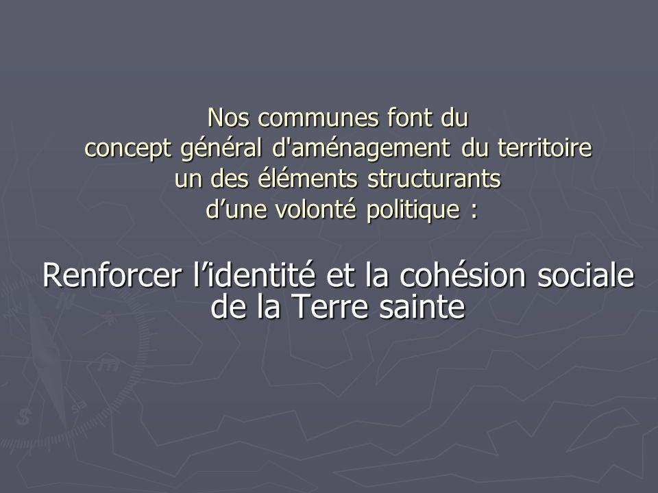 Nos communes font du concept général d aménagement du territoire un des éléments structurants dune volonté politique : dune volonté politique : Renforcer lidentité et la cohésion sociale de la Terre sainte
