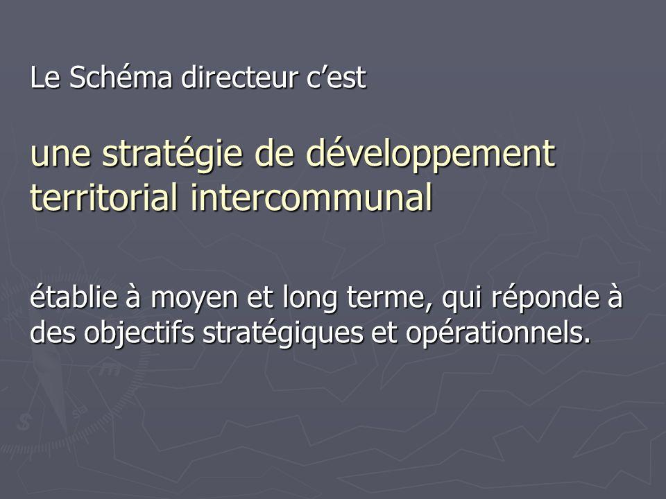 Le Schéma directeur cest une stratégie de développement territorial intercommunal établie à moyen et long terme, qui réponde à des objectifs stratégiques et opérationnels.