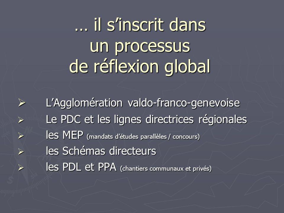 … il sinscrit dans un processus de réflexion global LAgglomération valdo-franco-genevoise LAgglomération valdo-franco-genevoise Le PDC et les lignes d