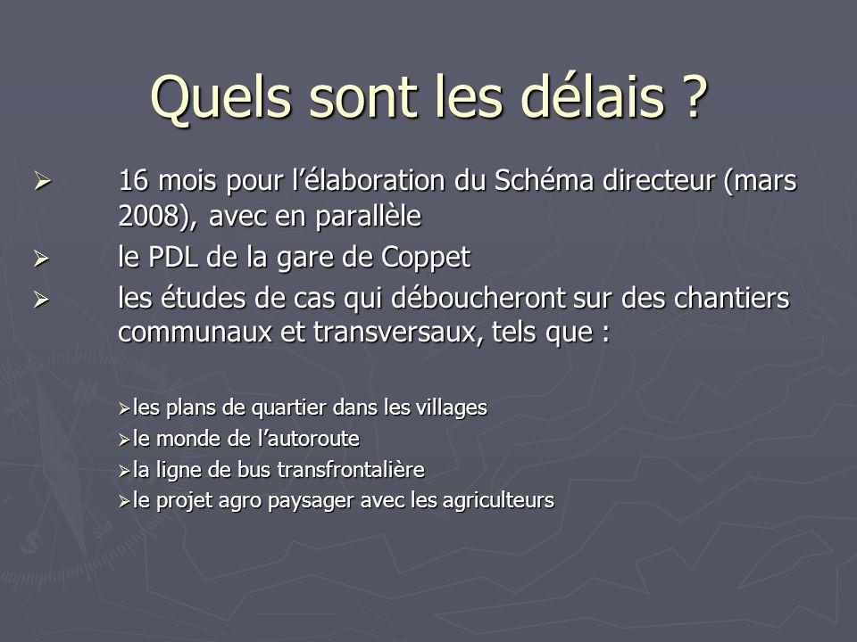 Quels sont les délais ? 16 mois pour lélaboration du Schéma directeur (mars 2008), avec en parallèle 16 mois pour lélaboration du Schéma directeur (ma