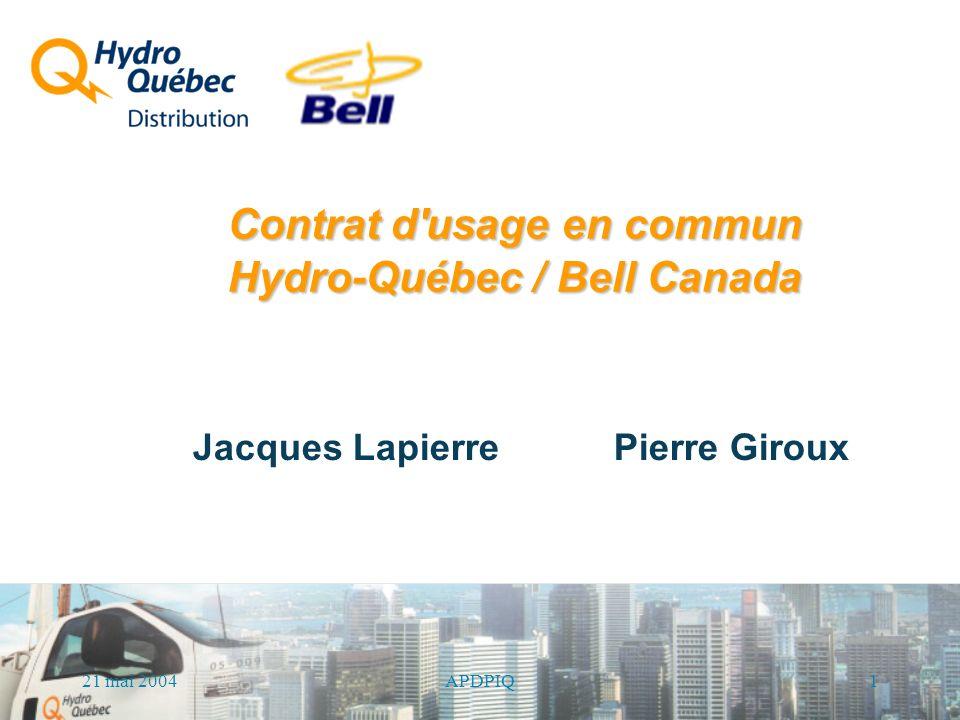 21 mai 2004 1APDPIQ Contrat d usage en commun Hydro-Québec / Bell Canada Jacques Lapierre Pierre Giroux
