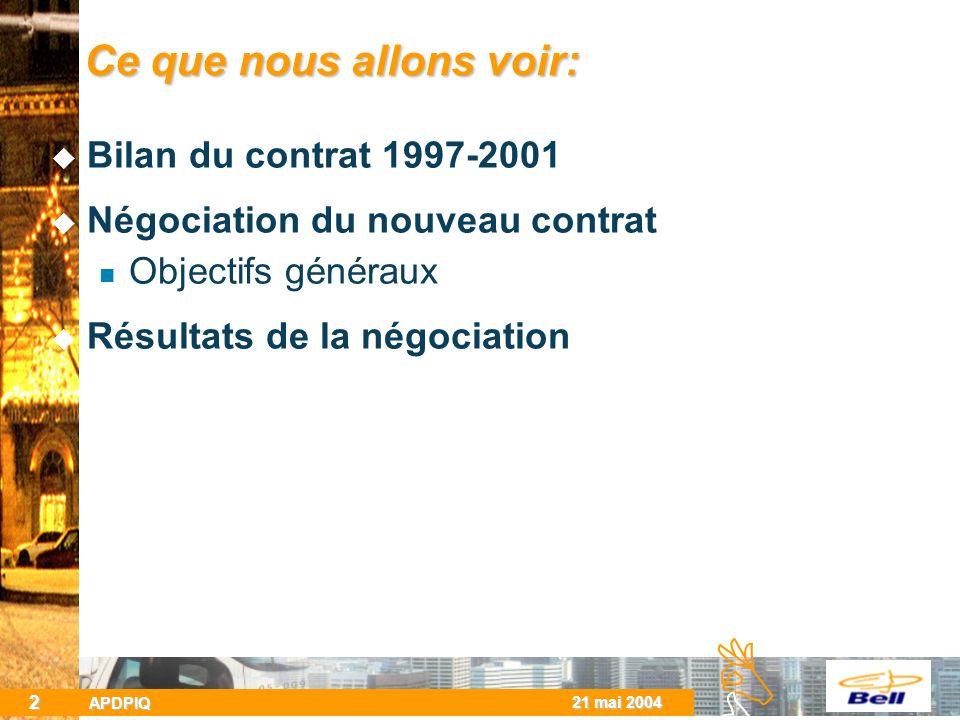 BCBC 21 mai 2004 APDPIQ 2 Ce que nous allons voir: Bilan du contrat 1997-2001 Négociation du nouveau contrat Objectifs généraux Résultats de la négociation