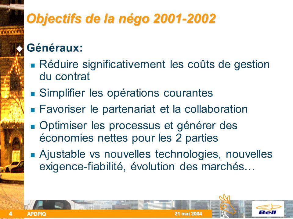 BCBC 21 mai 2004 APDPIQ 4 Objectifs de la négo 2001-2002 Généraux: Réduire significativement les coûts de gestion du contrat Simplifier les opérations courantes Favoriser le partenariat et la collaboration Optimiser les processus et générer des économies nettes pour les 2 parties Ajustable vs nouvelles technologies, nouvelles exigence-fiabilité, évolution des marchés…