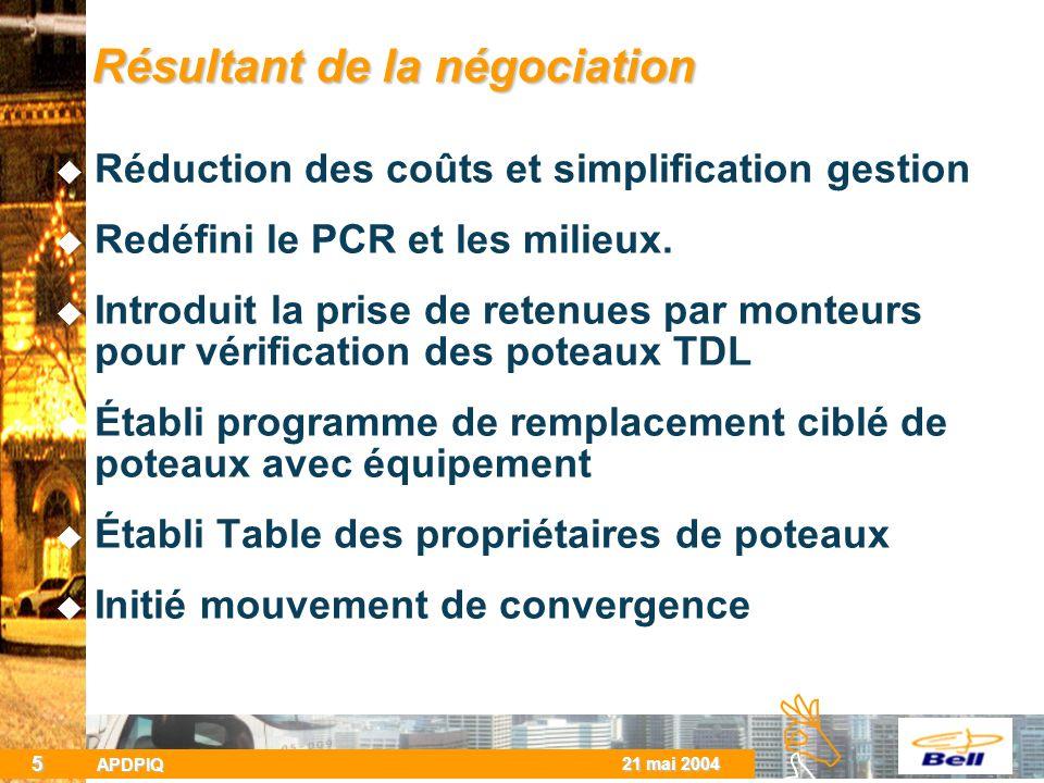 BCBC 21 mai 2004 APDPIQ 5 Résultant de la négociation Réduction des coûts et simplification gestion Redéfini le PCR et les milieux.