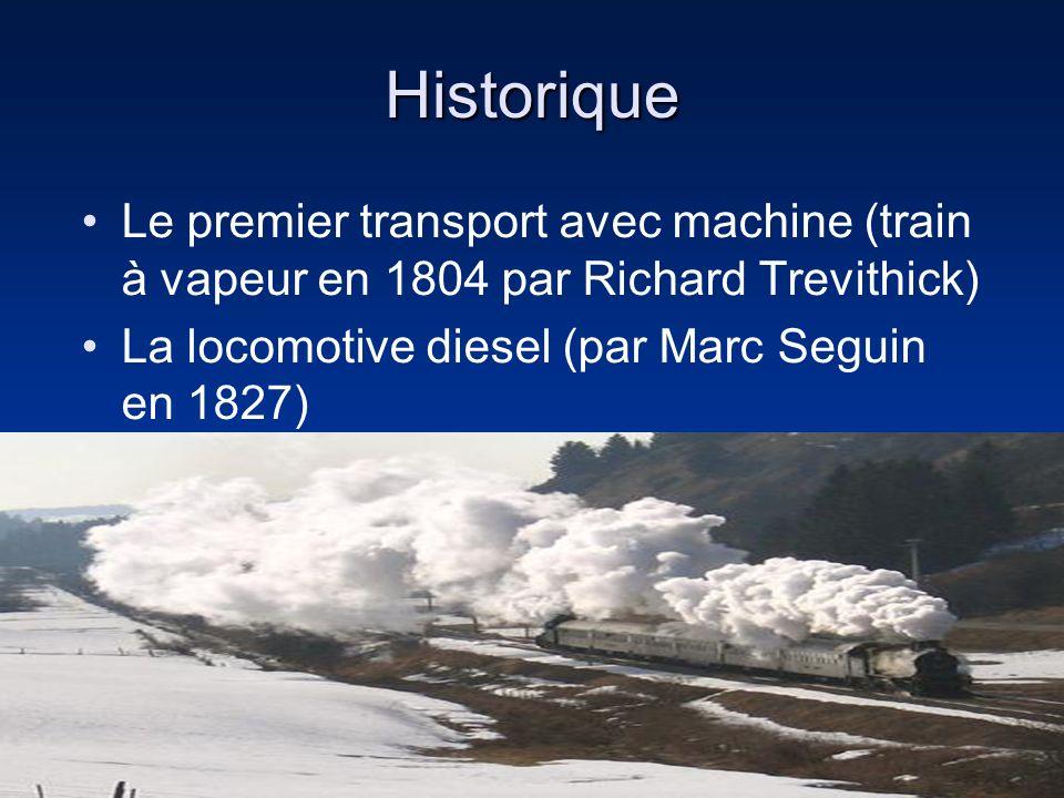 Historique Le premier transport avec machine (train à vapeur en 1804 par Richard Trevithick) La locomotive diesel (par Marc Seguin en 1827)