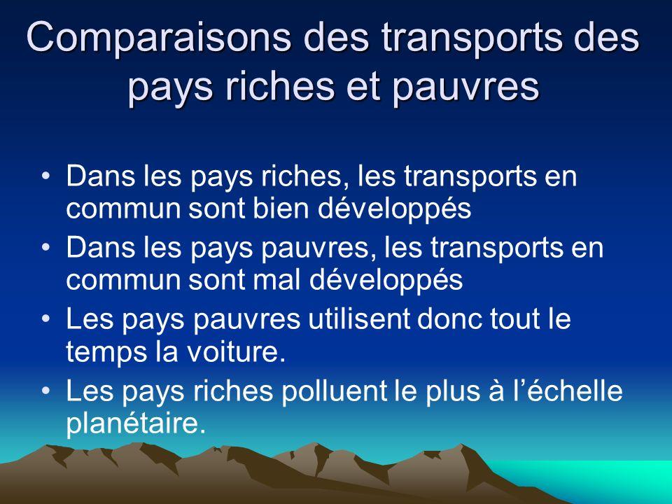 Comparaisons des transports des pays riches et pauvres Dans les pays riches, les transports en commun sont bien développés Dans les pays pauvres, les