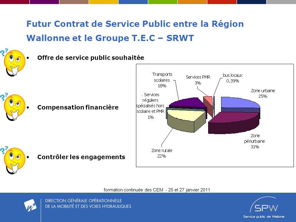 formation continuée des CEM - 25 et 27 janvier 2011 Futur Contrat de Service Public entre la Région Wallonne et le Groupe T.E.C – SRWT Offre de service public souhaitée Compensation financière Contrôler les engagements
