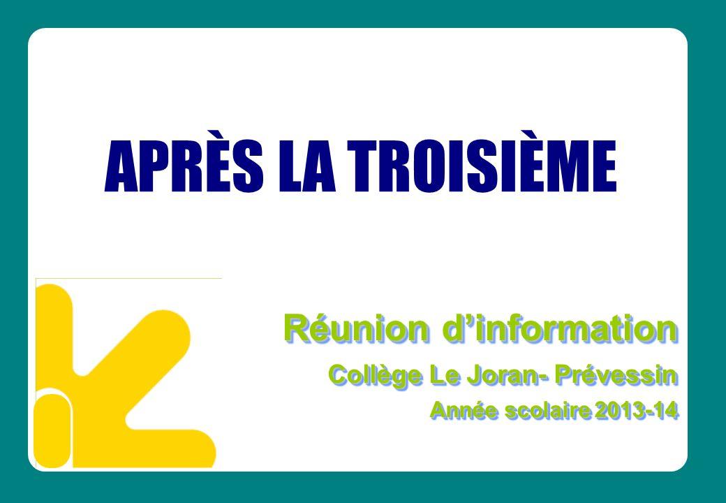 Réunion dinformation Collège Le Joran- Prévessin Année scolaire 2013-14 Réunion dinformation Collège Le Joran- Prévessin Année scolaire 2013-14