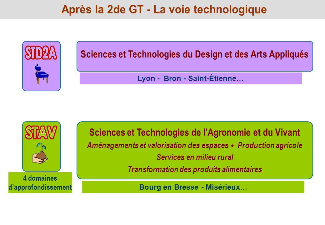 Sciences et Technologies du Design et des Arts Appliqués Lyon - Bron - Saint-Étienne… Sciences et Technologies de lAgronomie et du Vivant Aménagements